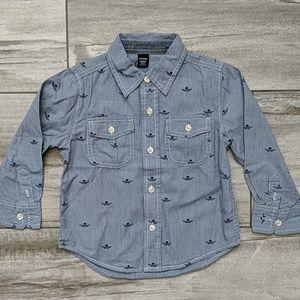 Baby Gap Button Down Skull Long-Sleeve Shirt